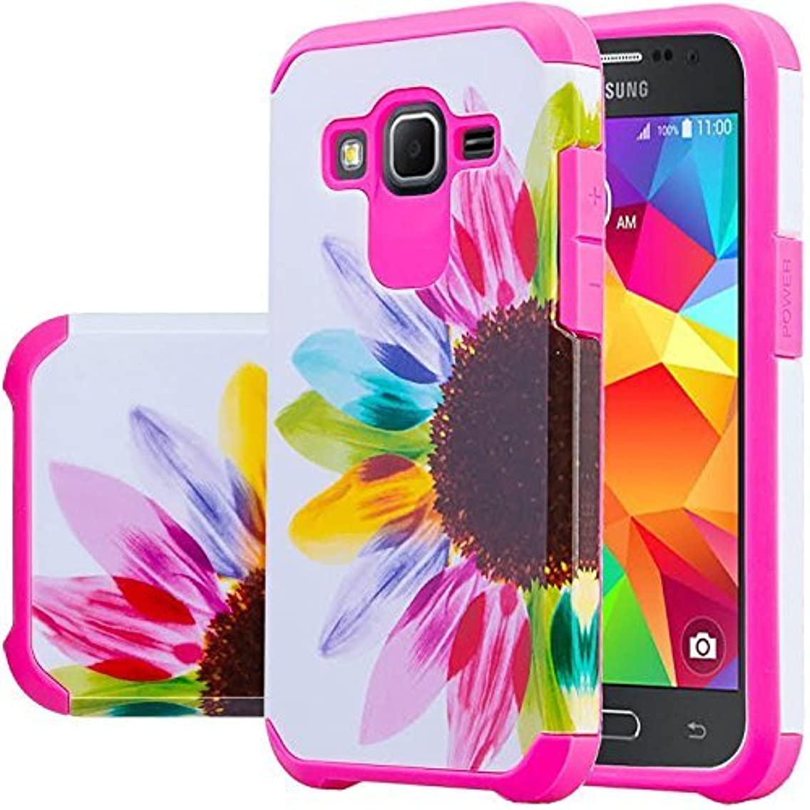 Wydan Case for Samsung Galaxy Grand Prime G530, Go Prime, Grand Prime Plus - Fusion High Impact Hybrid Hard Gel Shockproof Case Heavy Duty Phone Cover - Colorful Sunflower