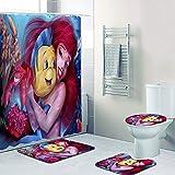 SMNVCKJ Cortina de ducha Disney Sirenita Ariel 180 x 200, 180 x 180 cm, multicolor, alfombra de baño, juego de 4 piezas, resistente al agua, accesorios para muebles con ganchos (180 x 180 cm, 26)