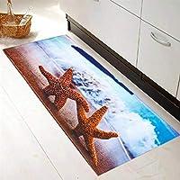 キッチンマット 台所マット 滑り止めカーペットスターフィッシュシーシェルラグキッチンフロアホームマットカーペットの装飾 対応 (Size:Free Size; Color:C)