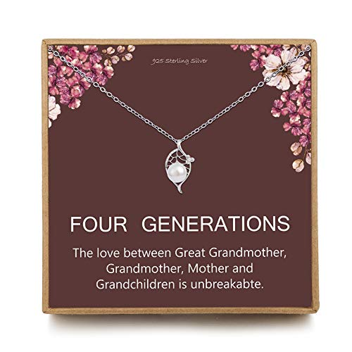 Four Generations Gift for Great Grandma - Sterling Silver Single Pearl Pendant Leaf Crystal CZ Generation Necklace for Great Grandmother, Mom Gift, Nana Gifts from Grandchildren, Mothers Day Jewelry