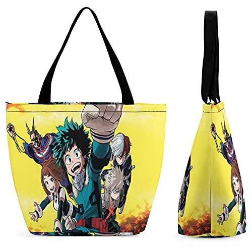 My Her-o Academ-ia - Bolso de mano impermeable con cremallera para mujer, bolsa de viaje para el hombro, bolsa de playa, bolsa de compras plegable, color Multicolor, talla Talla única