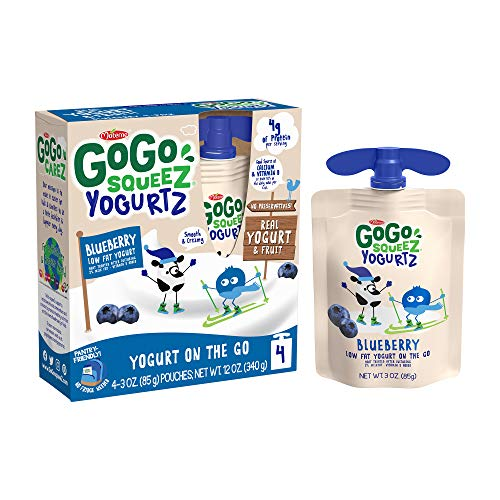 GoGo squeeZ yogurtZ, Blueberry, 3 Ounce (4 Pouches), Low Fat Yogurt, Gluten Free, Pantry-friendly, Recloseable, BPA Free Pouches