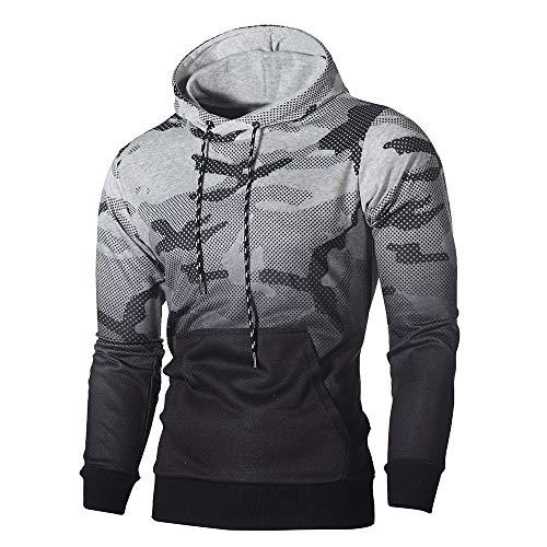 VECDY Herren Bluse,Räumungsverkauf- Männer Langarm Camouflage Hoodie Kapuzen Sweatshirt Top Tee Outwear Bluse Kapuzenpullover (Grau,52