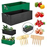 2-Pack Mixed Colors Rectangle Raised Bed Grow Bag (Comes with 10 Bamboo Tags) Breathable Thickened Nonwoven Foldable Fabric Container - Strong and Highly Durable (Black-Green-6.5 Gallon)