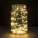 Battery Fairy Lights, 5M 50 LEDs Battery Powered Silver Wire String Lights Indoor Outdoor Fairy Lights for Bedroom Jars Camping Wedding Party Festival Tree Decorations - Warm White (1 Pack)