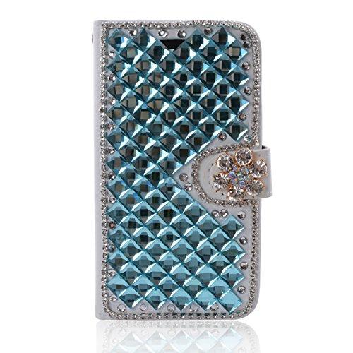 LG V60 ThinQ 5G Hülle, Gift_Source [Blau] Handytasche Bling Glitzer Diamant Strass Funkeln Handyhülle PU Leder Hülle Brieftasche Schutzhülle mit Kartenfach & Standfunktion für LG V60 ThinQ 5G (6.8