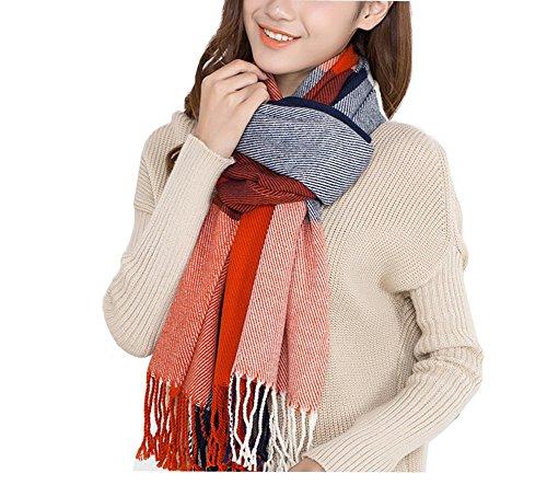 Seogva Damen Schals Kaschmir Foulard mit einem armband groß rechteckig Spitz Schal Halstuch Oversized (rot und blau)