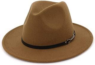 FADACHY Men & Women Classic Wide Brim Fedora Hat with Belt Buckle Wool Felt Panama Fedora M/L