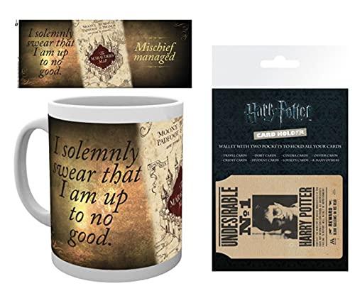 Harry Potter 1art1, Mapa del Merodeador Taza Foto (9x8 cm) Y 1, Tarjeteros para Tarjetas De Crédito (10x7 cm)