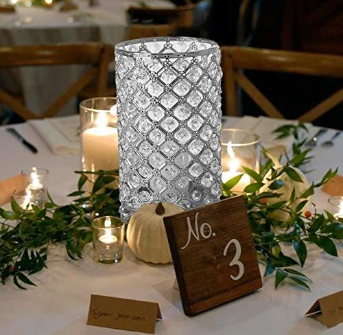 "Efavormart 2 Pack 9"" Tall Metallic Silver Crystal Beaded Pillar Votive Candle Holder/Crystal Beaded Floral Holder"