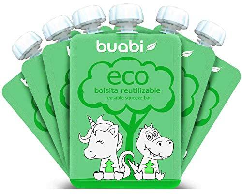 Buabi bolsitas reutilizables comida bebe - Pack de 6 bolsas