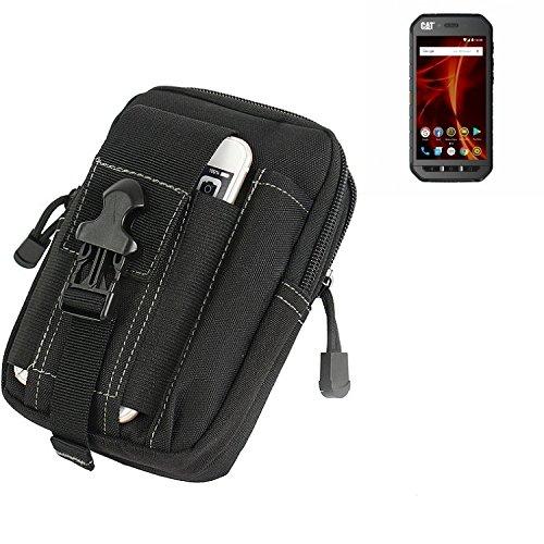 K-S-Trade Gürtel Tasche Für Caterpillar Cat S41 Dual-SIM Gürteltasche Holster Schutzhülle Handy Hülle Smartphone Outdoor Handyhülle Schwarz Zusatzfächer