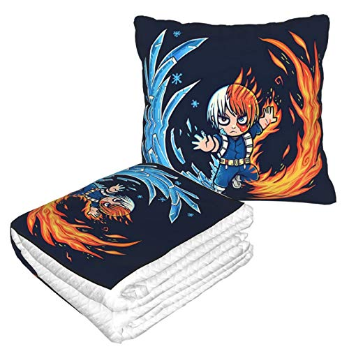 Qushy Best Hot and Cold Boy My Hero Academia Travel Blanket and Pillow 2 in 1 is Easy to Carry, Very Suitable for Living Room/Car/Travel/Camping/Airplane/Office