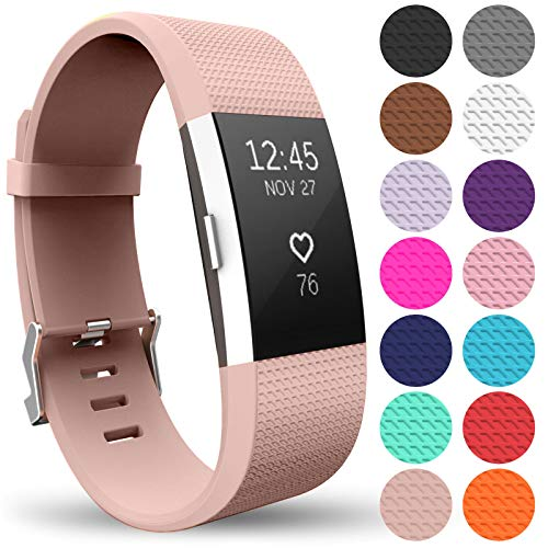 Yousave Accessories Armband Kompatibel mit Fitbit Charge 2, Ersatz Fitness Armband und Uhrenarmband, Silikon Sportarmband und Fitnessband, Wristband Armbänder für Fitbit Charge2 - Klein, Rose Gold