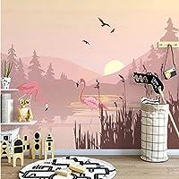 Iusasdz 写真壁紙北欧インピンク風景鳥サンセット風景壁画リビングルーム寝室ロマンチックな家の装飾3D-200X140Cm