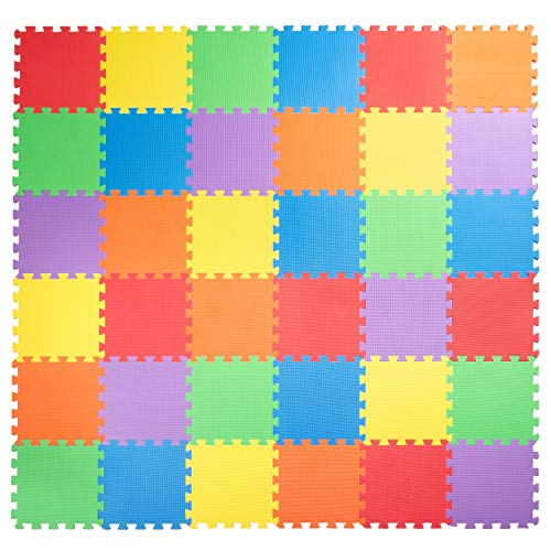"""Non-Toxic Children Play & Exercise Mat, 36 Tiles (12""""x12"""") - 3/8 Inch Thick Puzzle Play Mat for Kids & Toddlers, 6 Vibrant Colors, 36 sqft"""