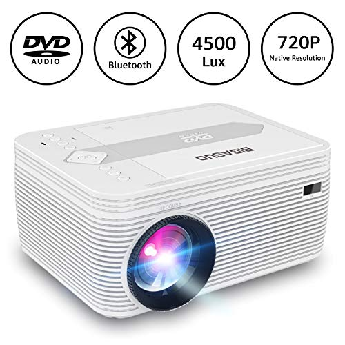 BIGASUO HD Bluetooth Projector Built in DVD Player, Portable Mini Projector 4500 Lux Compatible with Smartphone, Laptop, Fire TV Stick, Roku, HDMI, SD, AV, VGA, USB, 720P Native 1080P Supported
