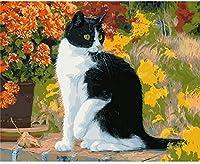 クロスステッチキット刻印刺繡-猫との練習-大人の初心者スターターキット-11CTDIYクロスステッチ針仕事フルレンジのプリントパターン工芸品家の装飾ギフト16x20インチ