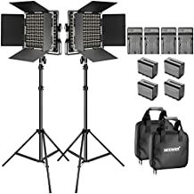 Neewer Bi-Color LED Video Light and Stand Kit with Battery and Charger-660 LED with U Bracket and Barndoor(3200-5600K, CRI 96+), 3-6.5 Feet Adjustable Light Stand for Studio, YouTube Shooting (2 pack)