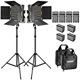 Neewer Soporte y Luz de Video LED Bicolor Kit con Batería y Cargador LED 660 Regulable con Soporte en U y Barndoor (3200-5600K, CRI 96+), Soporte de Luz para Estudio, Disparo de YouTube (2-paquete)