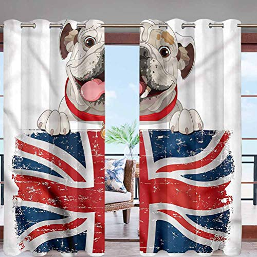 Hiiiman Indoor Outdoor Deck Curtain Windproof, Darkening Window Panel with Grommet Top British Dog W84 x L108 for Sliding Door/Foyer/Arbor/Lanai