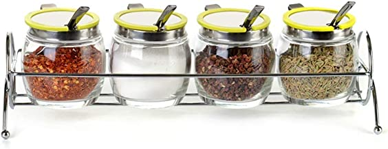 SPNEC Seasoning Tank-Seasoning Bottle Set Glass Storage Tank Rack 4-Jar Compact Spice Rack for Kitchen (Color : A)