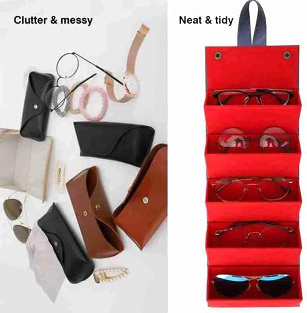 Leather Multiple Glasses Storage Case - Sunglasses Travel Organizer Case 5 Slots Foldable Eyeglasses Storage Box Portable Eyewear Display Containers for Women Men