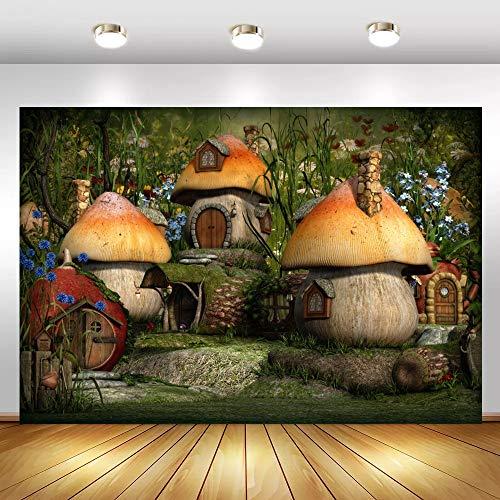 Fondos de Setas Cuento de Hadas Bosque árbol casa bebé Fiesta decoración Retrato fotografía Fondos sesión fotográfica A1 10x7ft / 3x2,2 m