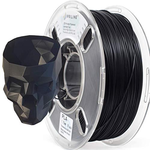 PRILINE PLA-1KG 1.75 3D Printer Filament, Dimensional Accuracy +/- 0.03 mm, 1kg Spool, 1.75 mm, Black