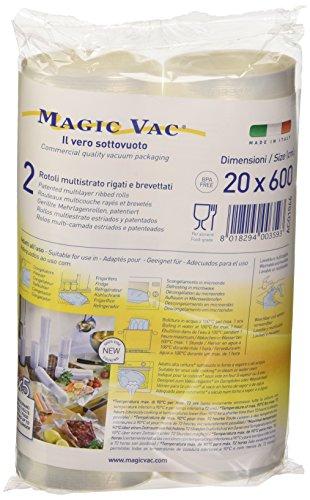 Magic vac ACO1066 - Pack de 2 Rollos, 20 cm x 6 m, Libres de BPA, se Puede Lavar, cocinar, Usar en Nevera, hervir, congelar y descongelar, Color Blanco
