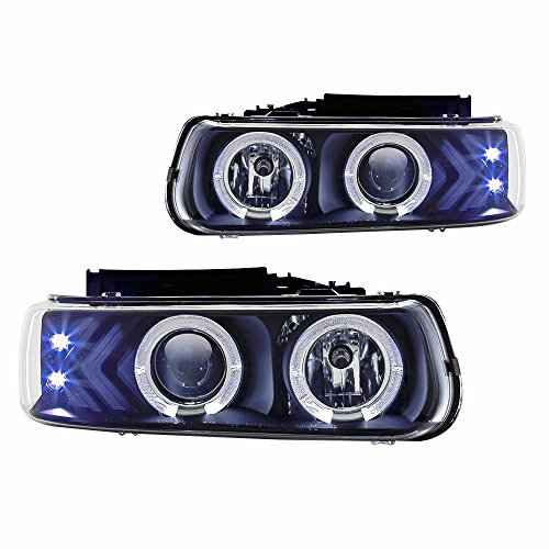 Winjet WJ10-0214-04 Black Housing/Clear Lens Projector Headlight with LED Halo (Chevy)