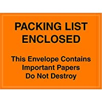 Aviditi PL410 Poly Envelope, Legend PACKING LIST ENCLOSED - This Envelope Contains Important Papers Do Not Destroy, 4-1/2 Length x 6 Width, 2 mil Thick, Black on Orange (Case of 1000) by Aviditi