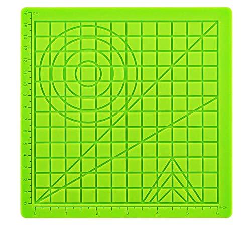 DERUC - Tappetino in Silicone 3D per disegnare in Modo Creativo, con Modelli di Base per Bambini e Principianti, 2 Protezioni Termiche, Colore Verde (17,7 x 17,7 x 0,3 cm)