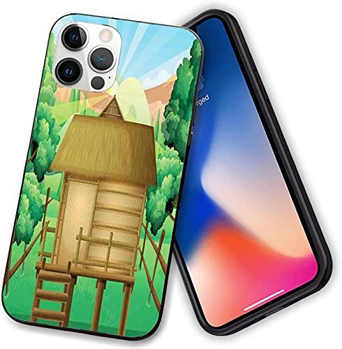 Funda compatible con iPhone 12 Series, 3D Digital de una cabaña de madera refugio en el bosque y el sol resplandeciente, delgado suave TPU para iPhone 12 Pro max-6.7 pulgadas