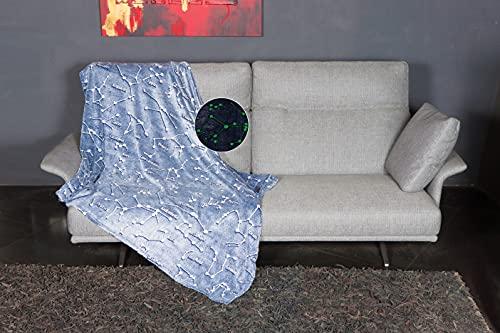 Kanguru Plaid Glow Costellazioni, coperta in soffice pile, SI ILLUMINA DI NOTTE, 130x150 cm