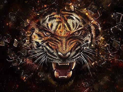 Recámara Diy 3D Arte Papel Pintado Wallpaper Tigre Animal Mural De Pared Clásicos Poster Interiores Imágenes Diseño Hogar Decoración Diamante Redondo Mosaico