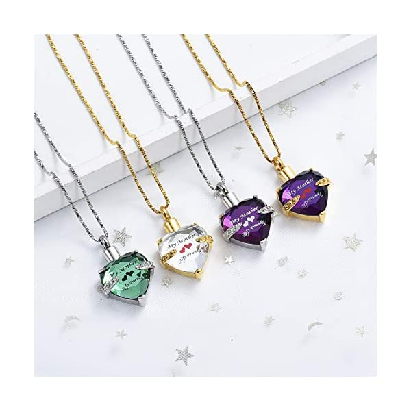 Yinplsmemory Mom Urn Necklace for Ashes Crystal Hollow Heart Pendant Ashes Keepsake Jewelry – Mother Cremation Memorial Gift