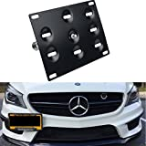 Dewhel Front Bumper Tow Hook License Plate Mount Bracket Bolt on No Drill Relocator Hole Adapter Support Holder for Mercedes W204 C-Class W212 E-Class C117 CLA-Class W221 S-Class W166 ML X204 GLK