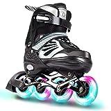 VOMI Kids/Adult Inline Skates with Light Up Wheels Adjustable Fun Roller Blades Beginner Roller Skates for Girls, Men and Ladies, Aluminum Alloy Bracket ABEC-7 Quiet Bearing (Large 37~41, Black)