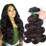 Pecwu Brazilian Body Wave 3 Bundle 100% Unprocessed Gorgeous Brazilian Human Hair Weave Weft Natural Color Brazilian Remy Human Hair Extensions Weaving 3 piece (20' 22' 24')