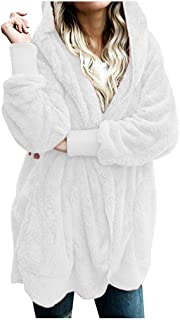 Womens Long Sleeve Solid Fuzzy Fleece Open Front Hooded Cardigans Jacket Coats Outwear with Pocket White