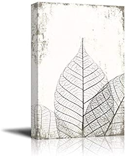 wall26 Canvas Wall Art - Black and White Leaf Vein on Rustic Background - Giclee Print Gallery Wrap Modern Home Art Ready ...