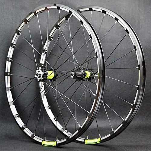 SN 26 27.5 Zoll Mountainbike Laufrad Fahrrad Felge Vorderes Hinterrad Laufradsatz Schnelle Veröffentlichung 24 Löcher Doppelwandige Für 7-12 Geschwindigkeit (Color : Black Green hub, Size : 26inch)