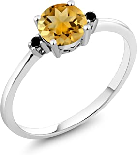 10K White Gold Engagement Solitaire Ring set with 0.73 Ct Round Yellow Citrine and Black Diamonds