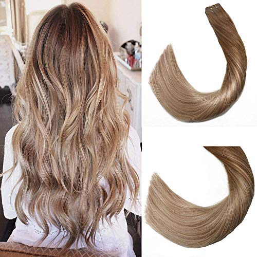 Tape in Human Hair Extensions Silky Straight Skin Weft Ombre Balayage Remy Hair Good Quality Beauty Hair Style 20 Pieces 50g Per Package(#10T14 Ombre Golden Brown to Medium Golden Brown 20inch)