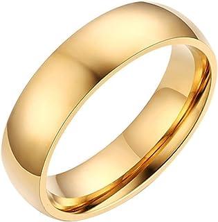JAJAFOOK الرجال النساء الفولاذ المقاوم للصدأ خواتم ناعمة عرض 4 مم، ذهبية، عالية الصقل