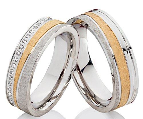 frencheis Trauringe Eheringe Hochzeitsringe Verlobungsringe Edelstahlringe mit Zirkonia gratis Gravur P301