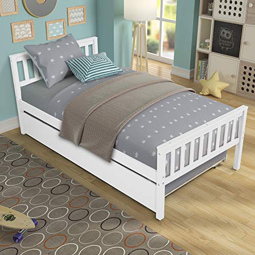 MemaRo Twin Bed Frame with Trundle for Kids, Solid Wood Platform Bed with Headboard, Footboard for Teens Boys Girls,No Box Spring Needed (White)