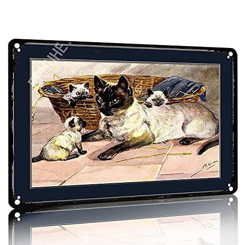 SAODOMA Cartel vintage con diseño de gato siamés inglés para decoración de la pared, decoración de la casa, jardín, oficina, bar, club, hombre, cueva, 30 x 20 cm