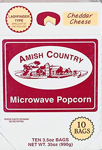Amish Country Popcorn | Old Fashioned Microwave Popcorn | Old Fashioned with Recipe Guide (Cheddar Cheese Ladyfinger, 10 Bags)